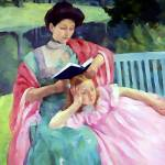 """Auguste reading to her daughter"" by bandtdigitaldesigns"
