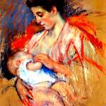 """Mother Jeanne nursing her baby"" by bandtdigitaldesigns"