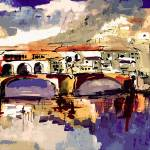 """Contemporary Ponte Vecchio Italy Florence"" by GinetteCallaway"