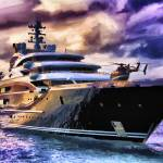 """Superyacht Serene with helicopter"" by who"