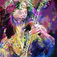 JIMMY PAGE ELECTRIC Art Prints & Posters by David Lloyd Glover
