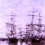 """The Port 1886 by Eugene Boudin Restored and Enhanc"" by TheNorthernTerritory"