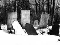 Gravestones in a Rural, NY Cemetery in Winter (Bla