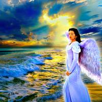 blue heavenly sunset gold sunray female sea angel Art Prints & Posters by eszra tanner
