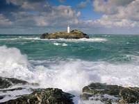 Godrevy Lighthouse and Rough Seas, Cornwall, Engla