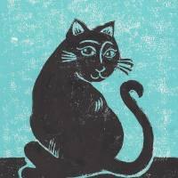 Black Cat with Teal Print Abigail Davidson Art Prints & Posters by Abigail Davidson
