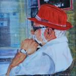 """Tourista with Red Fedora"" by DianaNadalFineArt"