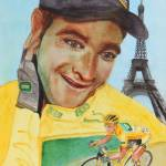 """""""Wearing the Yellow Jersey Thomas Voeckler"""" by DianaNadalFineArt"""
