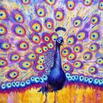 """Radiant Peacock, purple radiant orchid painting"" by schulmanart"