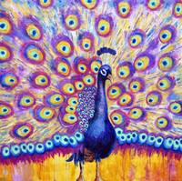 Radiant Peacock, purple radiant orchid painting
