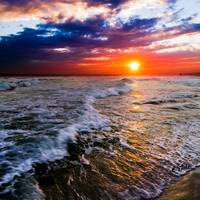 Red and Purple Sea Waves Sunset Square Art
