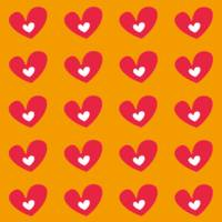 Red Hearts On Orange