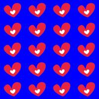 Red Hearts On Blue