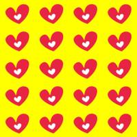 Red Hearts On Yellow