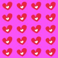 Red Hearts On Pink