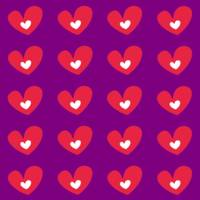 Red Hearts On Purple