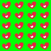 Red Hearts On Neon Green
