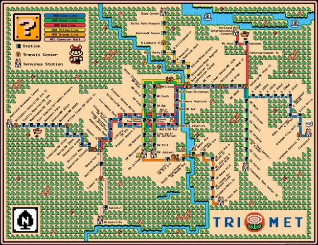 Portland TriMet Light Rail Map in The Style of Mario 3 - Super Mario on unitrans map, target map, ripta map, comcast map, transit map, bc ferries map, reed college map, nctd map, kaiser permanente map, portland streetcar map, miami train station map, transperth map, fbi map, macy's map, modot map, microsoft map, metrobus map, genentech map, translink map, skytrain map,