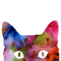 abstract cat Art Prints & Posters by David Rogers