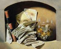 A trompe l'oeil of paper money, coins and a broken