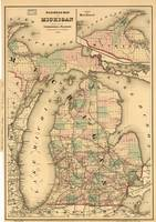 Vintage Map of The Michigan Railroads (1876)