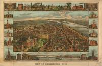 Vintage Pictorial Map of Harrisburg PA (1855)