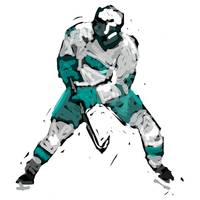 Hockey Defenseman white gray charcoal (c)
