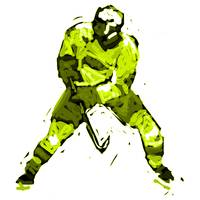 Hockey Defenseman yellow green (c)