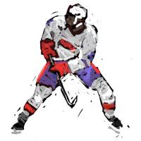 Hockey Defenseman red white blue (c)