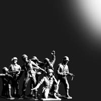 Plastic Army Man Battalion Black and White