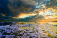 Heavenly Sunset Glowing Soft Golden Sea-Dreamy Sky