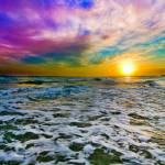 """Purple Cloud Sunset Checkered Sea Surf White Foam"" by eszra"