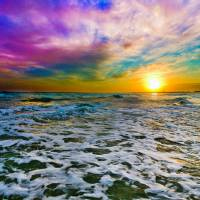 Purple Cloud Sunset Checkered Sea Surf White Foam Art Prints & Posters by eszra tanner