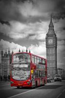 London - Houses Of Parliament And Red Bus