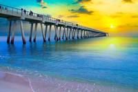 Calm Blue Sea-Yellow Sunset Pier-Navarre Beach