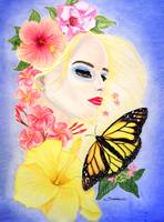 Girl with Flowers and Butterfly