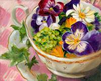Tea Cup of Pansies