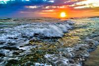 Breaking Waves-Red Purple Blue Sunset-Sea Shore