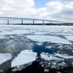 """Rhinecliff Bridge over the Icy Hudson River"" by foxvox"