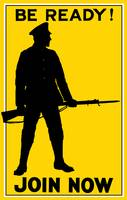 Vintage World War I poster showing the silhouette