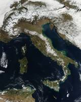 Satellite view of snow in Italy