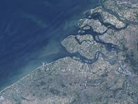 Satellite view of the Belgium coastline