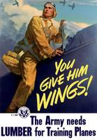 Vintage World War II poster of a pilot getting int