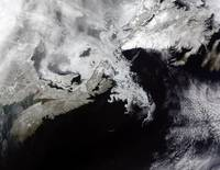 Sea ice fills the Gulf of St Lawrence giving the l