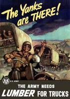 Vintage World War II poster of military transport