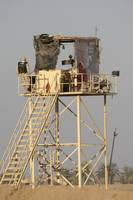 Guard tower manned by Georgian soldiers at Camp Wa