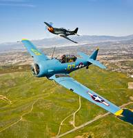 A T-6 Texan and P-51D Mustang in flight over Chino