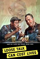 Vintage World War II poster of two men talking as