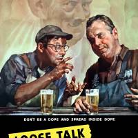 """Vintage World War II poster of two men talking as"" by StockTrek Images"