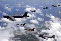 A B52 Stratofortress leads a formation of aircraft